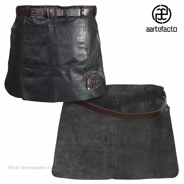 カッツァ アーティファクト 本革製タブリエ 腰巻ショート ブラック&バーガンディ HB001BB ※ラッピング不可商品