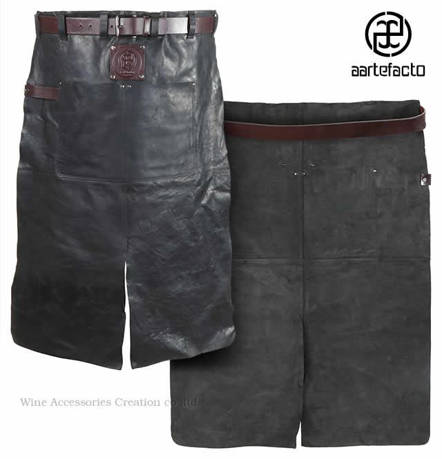 カッツァ アーティファクト 本革製タブリエ 腰巻ロング ブラック&バーガンディ HB002BB ※ラッピング不可商品