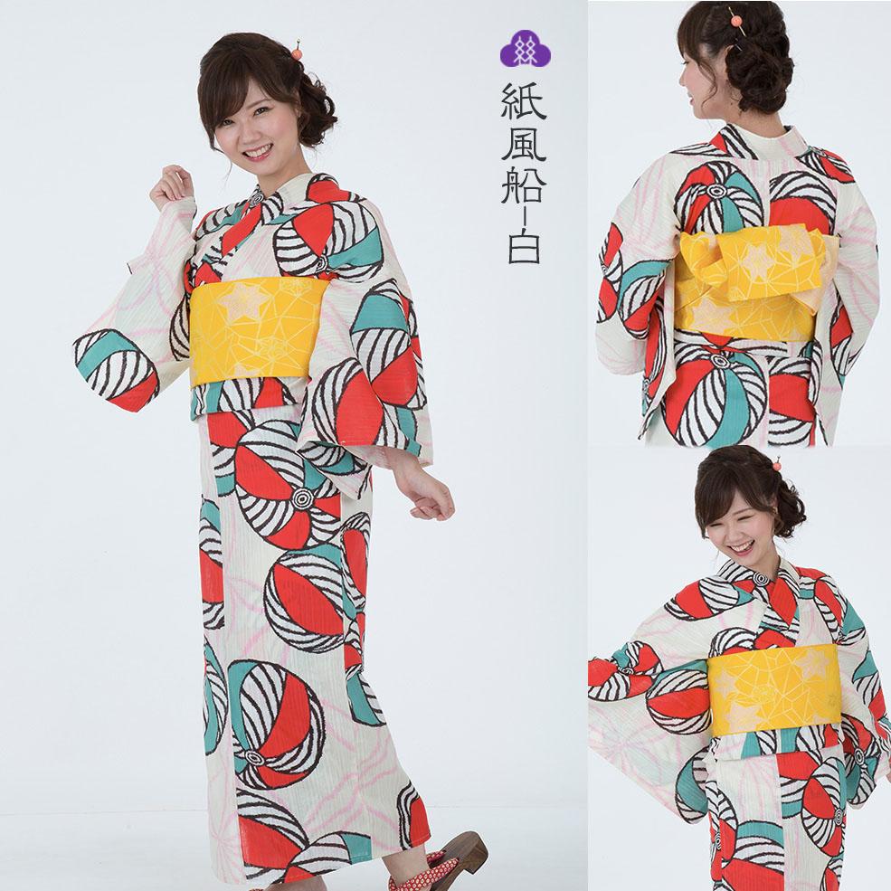 綿麻浴衣 紙風船-白 松村糸店/浴衣/着物/贅沢に高級麻を30%も使用!/麻が30%入ることによって、よりシャリ感がまして、着崩れしにくい!涼しい!