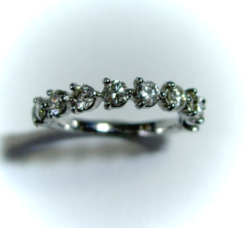 プラチナ ダイヤモンド1.0ct ハーフエタニティ スイートテン リング♪