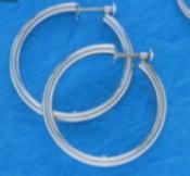 P900 プラチナ イヤリング 少し細目のパイプ輪 1mm×30mm(フープ ネジ式)er-Pt900-1x30