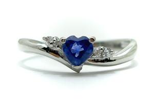 ◆9月誕生石◆PTプラチナ ダイヤモンド・ハートサファイア リング♪