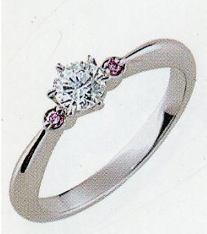 PT900プラチナ リング空枠(シチズン)(ピンクダイヤ付き)156-70105(6本爪 0.25ct.用)(中心のダイヤは別売り)