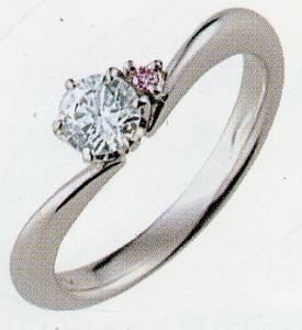 PT900プラチナ V字リング空枠(シチズン) (ピンクダイヤ付き)165-70132(6本爪 0.25ct.用)(中心のダイヤは別売り)