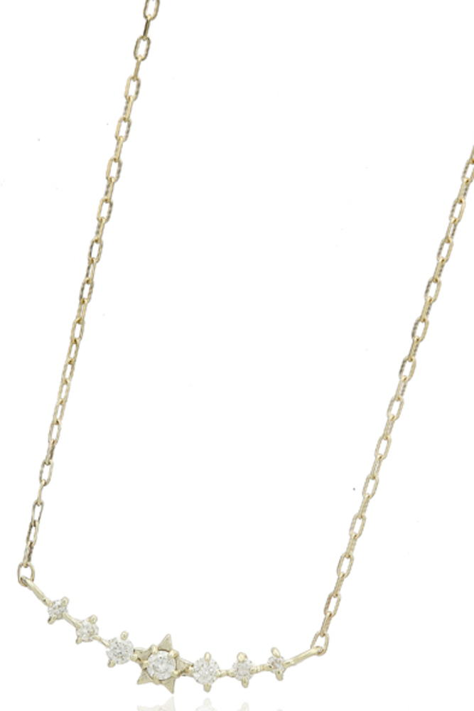 95-2667【受注生産】me.luxe K10WG(ホワイトゴール) ダイヤモンド スターモチーフ ネックレス ペンダント
