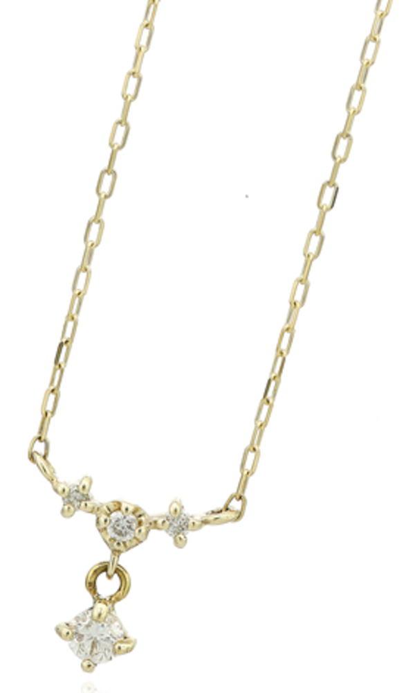 95-2663【受注生産】me.luxe K10WG(ホワイトゴールド)  バースデーストーン 4月 ダイヤモンド ネックレス (ペンダント)
