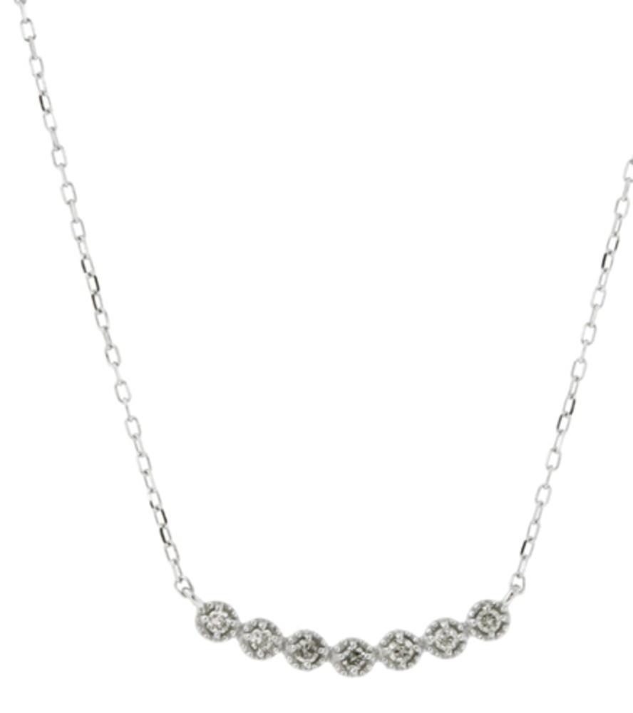 95-1101【受注生産】 me.luxe K10WG(ホワイトゴールド)ダイヤモンド 0.07ct.ラインネックレス(ペンダント)