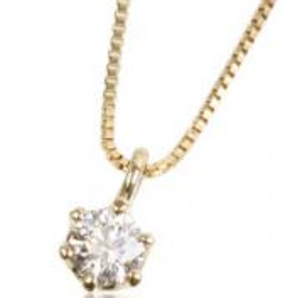 95-8023【受注生産】0.10ct K18YG(イエローゴールド)ダイヤモンド ネックレス(ペンダント)