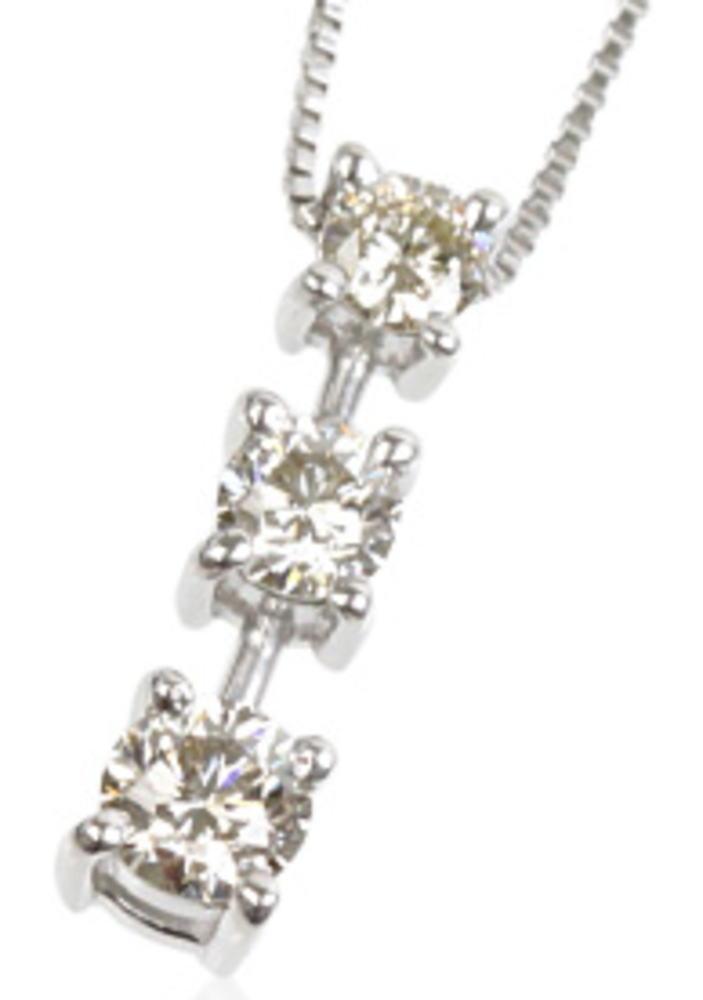 95-8027【受注生産】0.30ct K18WG(ホワイトゴールド) ダイヤモンド トリロジー ネックレス(ペンダント)