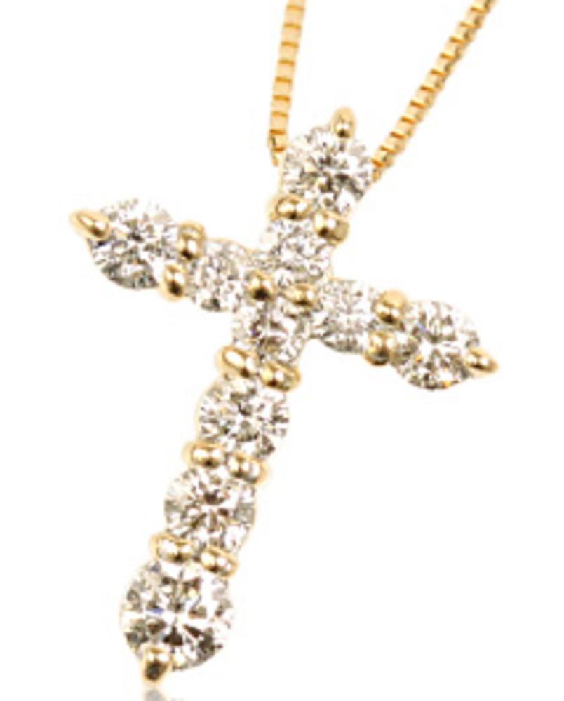 95-8034【受注生産】0.50ct K18YG(イエローゴールド) ダイヤモンド クロス ネックレス(ペンダント)
