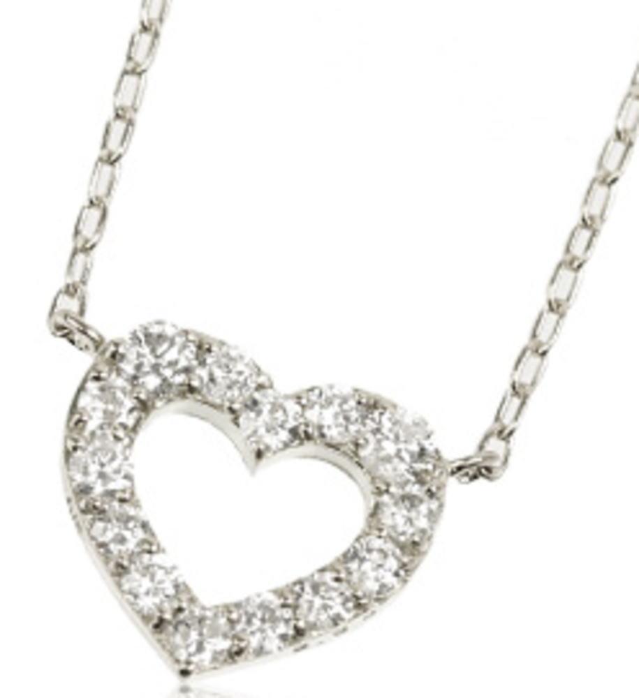 95-8035【受注生産】0.30ct K18WG(ホワイトゴールド) ダイヤモンド オープンハート ネックレス(ペンダント)
