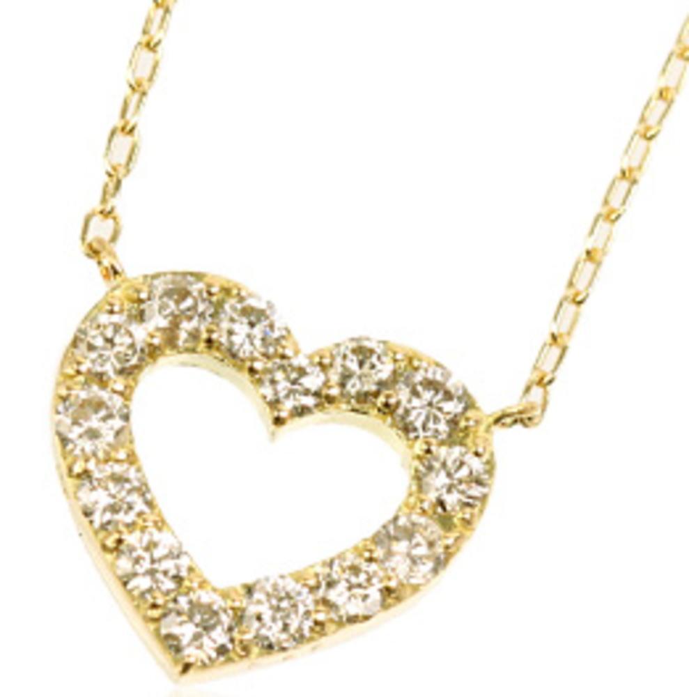 95-8038【受注生産】0.50ct K18YG(イエローゴールド)ダイヤモンド オープンハート ネックレス(ペンダント)