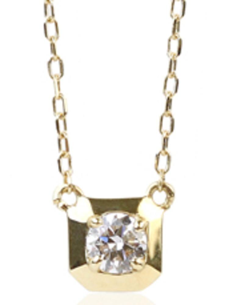 95-0998【受注生産】 me.luxe K18YG(イエローゴールド) 0.1ctスクエア&ダイヤモンド ネックレス(ペンダント)