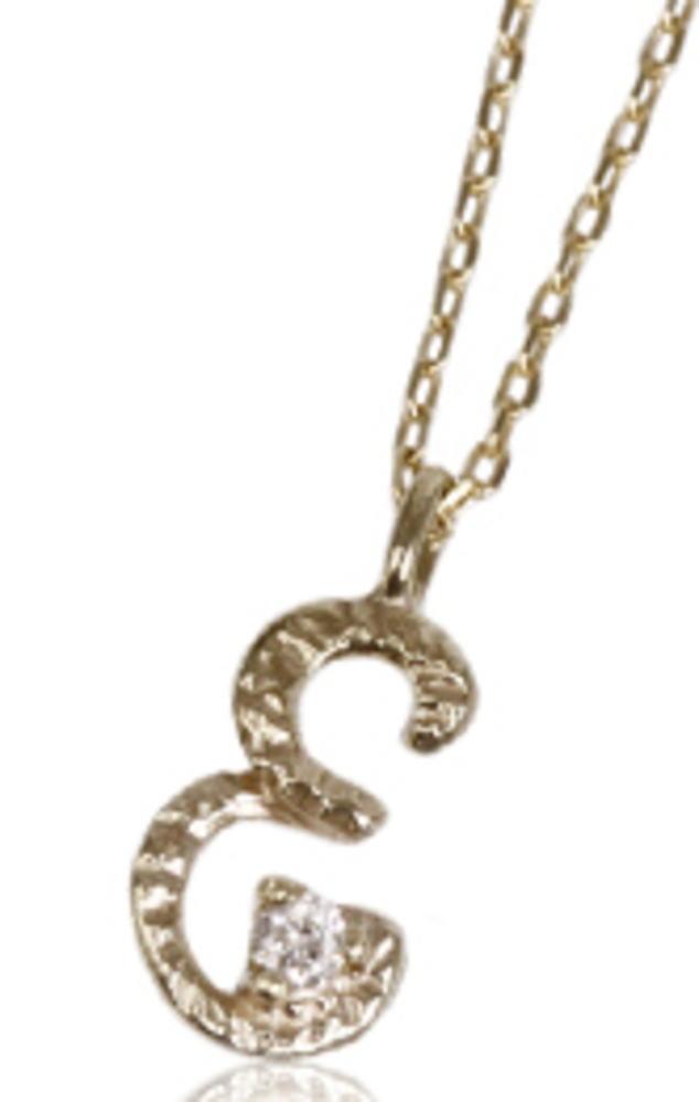 95-0783【受注生産】me. k10YG(イエローゴールド)ダイヤモンド/イニシャル-E ネックレス ペンダント