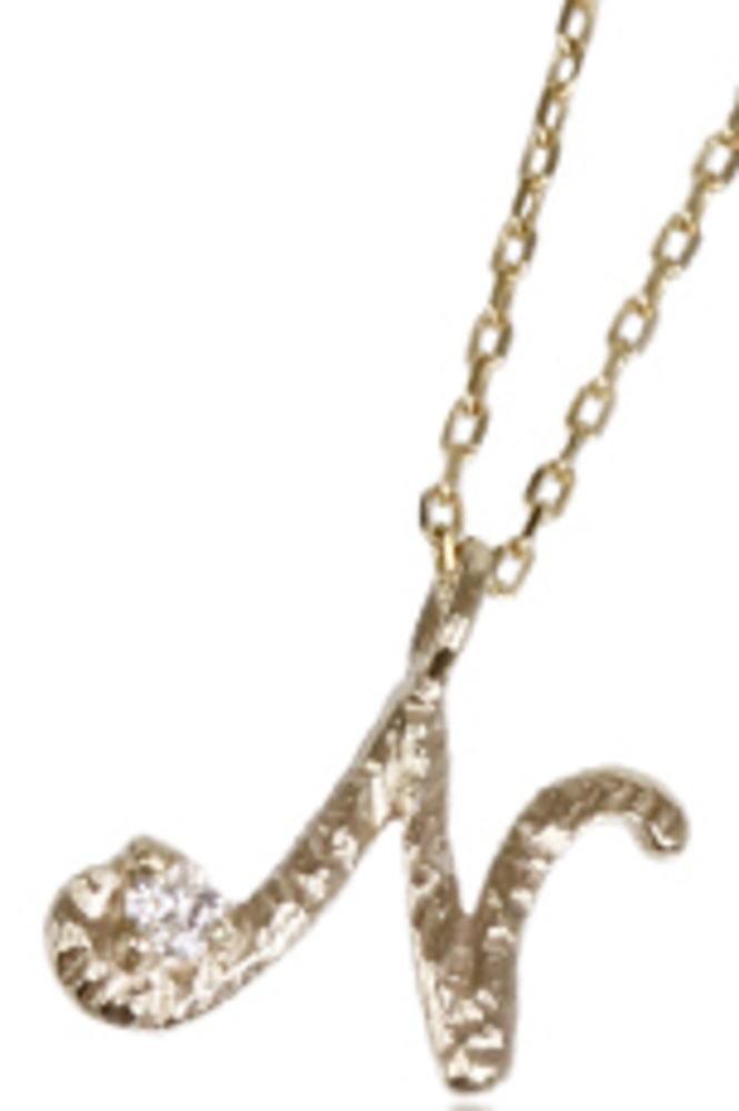 95-0788【受注生産】me. k10YG(イエローゴールド)ダイヤモンド/イニシャル-N ネックレス ペンダント
