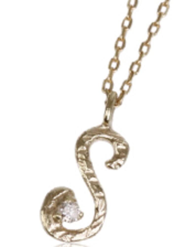 95-0790【受注生産】me. k10YG(イエローゴールド)ダイヤモンド/イニシャル-S ネックレス ペンダント