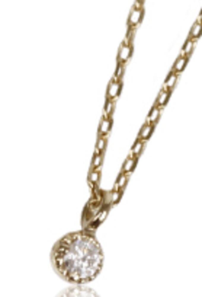 95-0805【受注生産】me. k10YG(イエローゴールド)ダイヤモンド/一粒石 ネックレス ペンダント