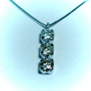 K18WG ホワイトゴールドダイヤモンド0.3ct ペンダント / ネックレス