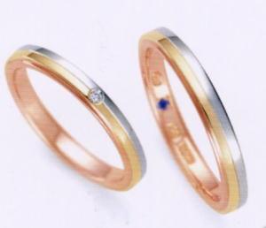 ★お買い得特別価格!!★RomanticBlue ロマンティックブルーPT900プラチナ/K18YG イエローゴールド/K18PGピンクゴールド4A5001(ダイヤ)(19)&4B5001(20)ー2本セットマリッジリング・結婚指輪・ペアリング