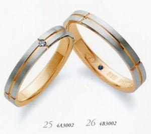 ★お買い得特別価格!!★RomanticBlueロマンティックブルー4A3002(ダイヤ)(23)&4B3002(24)ー2本セットマリッジリング・結婚指輪・ペアリング