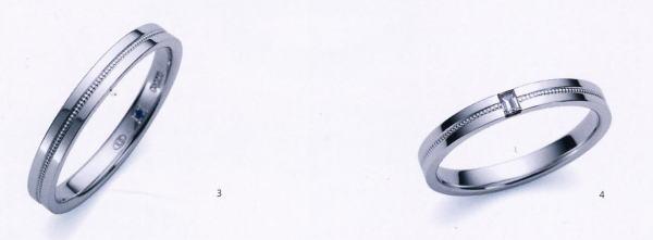 ★お買い得特別価格!!★RomanticBlueロマンティックブルー4B1006(3)&4A1006ダイヤ(4)-2本セットマリッジリング・結婚指輪・ペアリング