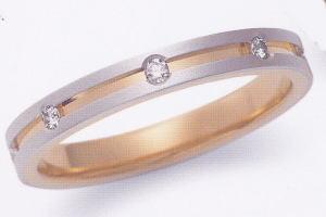 ★お買い得特別価格!!★EBP-6L(ダイヤ3個付)Enbrasser Purest(アンブラッセ ピュアレスト 純プラチナ Pt-999)& 純金 (K24-999)マリッジリング、結婚指輪、ペアリング用(1本)
