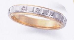 ★お買い得特別価格!!★EBP-14L(ダイヤ3個付) Enbrasser Purest(アンブラッセ ピュアレスト 純プラチナ Pt-999)& 純金 (K24-999)マリッジリング、結婚指輪、ペアリング用(1本)