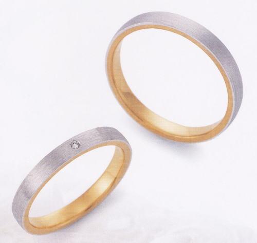 ★お買い得特別価格!!★EBP-5M & EBP-5L(ダイヤ付)Enbrasser Purest(アンブラッセ ピュアレスト 純プラチナ Pt-999)& 純金 (K24-999)マリッジリング、結婚指輪、ペアリング用(2本)