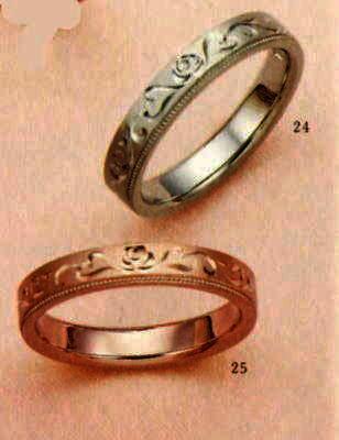 ★【卸直営店のお得な特別割引価格★Angerosa(アンジェローザ)(24)AR-815薔薇Uni)K18WG&(25)AR-816薔薇(Uni)K18PG(2本セット) マリッジリング、結婚指輪、ペアリング