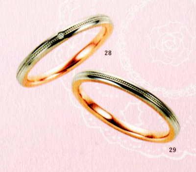 ★【卸直営店のお得な特別割引価格★Angerosa(アンジェローザ)(28)AR-508(L)&(29)AR-509(M)-2本セット , PT900/K18PG マリッジリング、結婚指輪、ペアリング