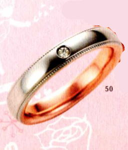 ★【卸直営店のお得な特別割引価格★Angerosa(アンジェローザ)(50)AR-505(L), Pt900/K18PG マリッジリング、結婚指輪、ペアリング用(1本)