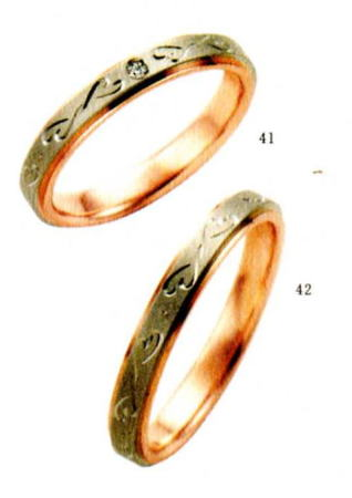 ★【卸直営店のお得な特別割引価格★Angerosa(アンジェローザ)(41)AR-604(L))&(42)AR-603(M)-2本セット , K18WG/PG マリッジリング、結婚指輪、ペアリング