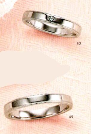 ★【卸直営店のお得な特別割引価格★Angerosa(アンジェローザ)(43)AR-811(L)&(45)AR-810(M)-2本セット, K18WG マリッジリング、結婚指輪、ペアリング
