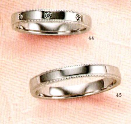 ★【卸直営店のお得な特別割引価格★Angerosa(アンジェローザ)(44)AR-812(L)&(45)AR-810(M)-2本セット, K18WG マリッジリング、結婚指輪、ペアリング