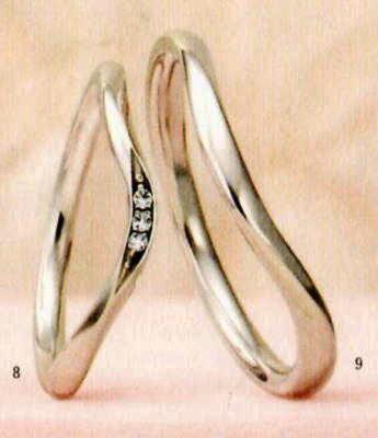 ★【卸直営店のお得な特別割引価格★Angerosa(アンジェローザ)(8)AR-008(L)&(9)AR-009(M)-2本セット , Pt900 マリッジリング、結婚指輪、ペアリング