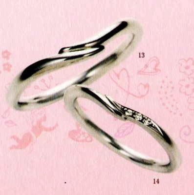 ★【卸直営店のお得な特別割引価格★Angerosa(アンジェローザ)(13)AR-013(M)&(14)AR-014(L)-2本セット, Pt900 マリッジリング、結婚指輪、ペアリング