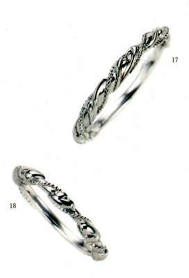 ★【卸直営店のお得な特別割引価格★Angerosa(アンジェローザ)(17)AR-017(M)&(18)AR-018(L)-2本セット, Pt900 マリッジリング、結婚指輪、ペアリング