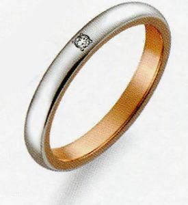 True Love トゥルーラブ (36) M376D-2 ダイヤ 卸直営店 お得な特別割引価格 Pt900 プラチナ & K18PG ピンクゴールド マリッジリング 結婚指輪 ペアリング(1本)
