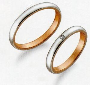 True Love トゥルーラブ (35) M376-3 & (36) M376D-3 ダイヤ = 2本セット 卸直営店 お得な特別割引価格 Pt900 プラチナ &   K18PG ピンクゴールド マリッジリング 結婚指輪 ペアリング