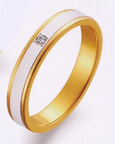 True Love トゥルーラブ (40) M097D-2 ダイヤ 卸直営店 お得な特別割引価格 Pt900 プラチナ & K18YG イエローゴールド マリッジリング 結婚指輪 ペアリング(1本)