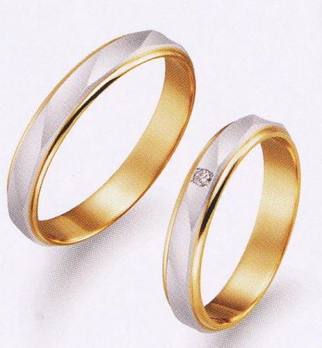 True Love トゥルーラブ 41 M150 & 42 M150D ダイヤ = 2本セット 卸直営店 お得な特別割引価格 Pt900 プラチナ & K18YG イエローゴールド マリッジリング 結婚指輪 ペアリング