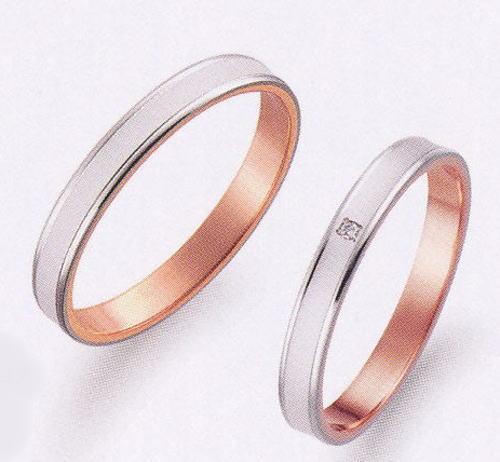 True Love トゥルーラブ (49) K276WP & (50) K276WPD ダイヤ = 2本セット 卸直営店お得な特別割引価格 K18WG ホワイトゴールド & K18PG ピンクゴールド マリッジリング 結婚指輪 ペアリング