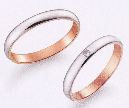 True Love トゥルーラブ (51) K277WP-3 & (52) K277WPD-3ダイヤ = 2本セット 卸直営店 お得な特別割引価格 K18WG ホワイトゴールド & K18PG ピンクゴールド マリッジリング 結婚指輪 ペアリング
