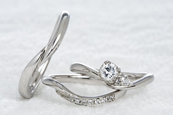 0.2ct.ダイヤモンド婚約指輪(エンゲージリング)/結婚指輪(マリッジリング)3本セットPRF013-02(ゼラニューム)【当店のオリジナル製品】