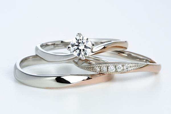 0.2ct.ダイヤモンド婚約指輪(エンゲージリング)/結婚指輪(マリッジリング)3本セットPRF019-02(ストロベリー)【当店のオリジナル製品】
