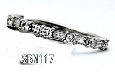 ★お買得情報があります???★【特注】 Something Blue サムシングブルーSBM117(丸&角ダイヤ1/2ハーフエタニティ)マリッジリング、結婚指輪