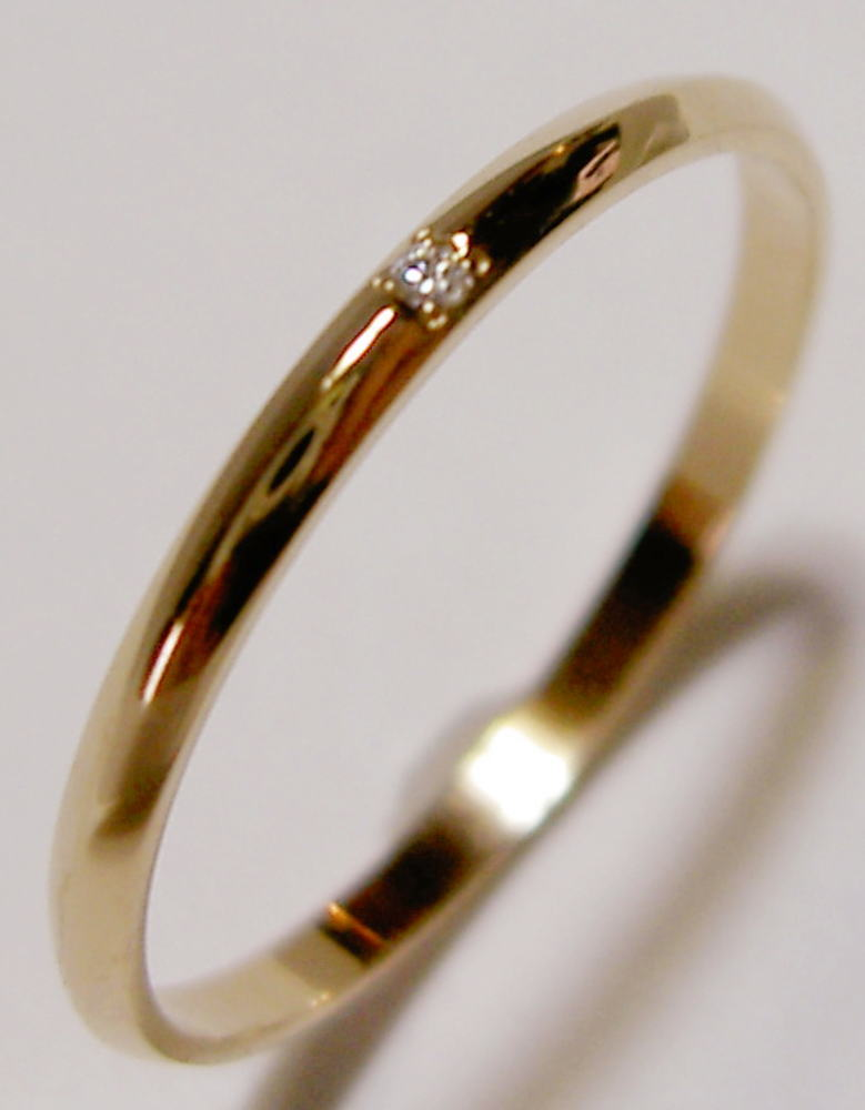 K18PGピンクゴールド ダイヤモンド入り,SLIM(スリム 1.5mm幅)な結婚指輪、マリッジリング、ペアリング(1本)