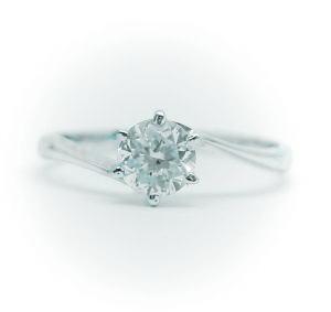 0.5ct.D-VS2-3EX(H&C)PTプラチナ婚約指輪(エンゲージリング)ダイヤモンドリング、S字フォルムタイプ6本爪(鑑定書付)
