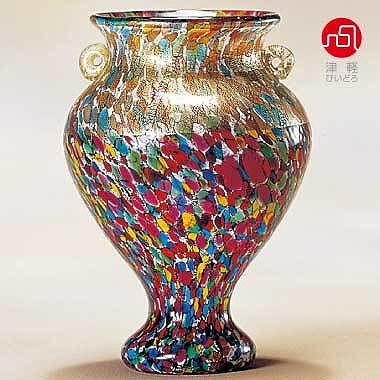 石塚硝子 ISHIZUKA GLASS アデリアグラス ADERIA GLASS 津軽びいどろ 大川花器中 ねぶたまつり F79653 花瓶