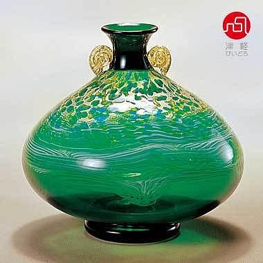 石塚硝子 ISHIZUKA GLASS アデリアグラス ADERIA GLASS 津軽びいどろ 大川花器大 奥入瀬新緑 F79646 花瓶